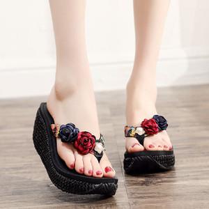 Verão Mar Praia Shoes Grosso inferior Clipe Pé falhanços Bohemia 2019 Nova High Heel não escorregar Sandálias da Mulher