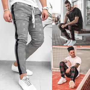 Мода Мужские брюки хип-хоп корейский стильный плед брюки повседневная SFitness тренировки тощий порт брюки брюки горячие