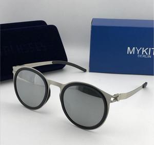 MYKITA óculos quadro ultraleve sem parafusos MKT DD2 rodada armação dos óculos de sol aba superior homens desenhador revestimento de lente espelho com caixa