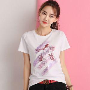 GGRIGHT 2019 Tops À Paillettes D'été Tees Femme Drôle Impression Broderie T-shirt Femmes Coréen Noir Blanc O-Cou En Coton T-Shirt Femme