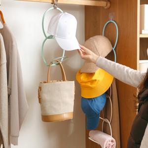 Hat Storage rack de parede montada Hat Storage rack ajustável destacáveis lenço gravatas de seda Belt prateleira porta atrás de chapéu gancho de suspensão