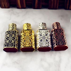 HD 3ml Antikglas Parfümflasche Flasche mit ätherischen Ölen im arabischen Stil aus Metall mit Glastropfenzähler GOLD Farbe Damenmode Geschenke HD 3ml An
