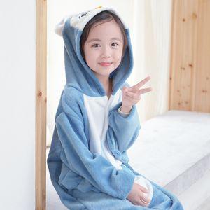 Flanel karikatür hayvan yapışık pijama ev giyim performansını mobilya çocuk kalınlaşmış Yapışık elbise ev giysileri baykuş