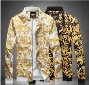 Fashion-2019 Роскошные Дизайнерские Мужские Новые Бренд Печатные мужские Куртки Tide Baseball Uniform Мужские Дизайнерские Куртки Slim Fit Плюс Размер M-5XL