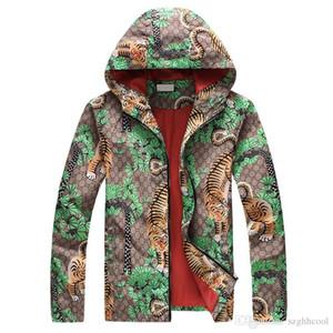 Nouvelle tendance Personnalité Hommes Designer Vestes Side Slit Pocket Capuche Veste à capuche Mode Tiger Imprimer Jeune coupe-vent 3 couleurs