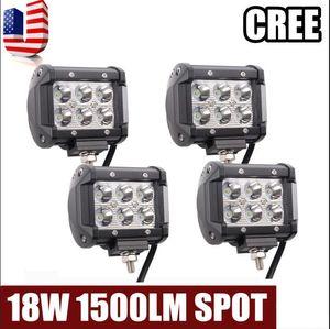 4 luces del punto de la luz LED del trabajo de la prenda impermeable IP67 de la pulgada 18W 6LED para la barra de los vehículos campo a través LED de los camiones