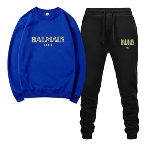 Uomo Primavera tute di alta qualità BALSAMO Felpa Maglione pantaloni neri di modo degli uomini Giallo Rosso Bianco basket vestiti casuali Sport