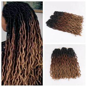 Ganchillo diosa Locs extensiones de pelo rizado Locs Faux ganchillo Trenzas Kanekalon Ombre del trenzado del pelo de la onda peinado de gitana