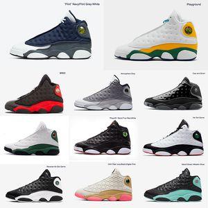 Flint 13 das mulheres dos homens Parque CNY Atmosfera Toe Grey tênis de basquete Playoff Grey Bred Ilha Verde Chicago Ele obteve a jogo XIII Ray Sneaker