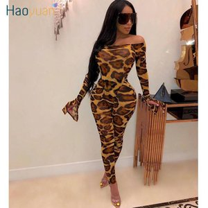 Haoyuan malha Sheer Leopard camuflagem Two Piece Set Mulheres Festival roupa sexy macacão Top Pant Matching 2 Piece Clube Outfits