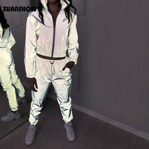 Women Windbreak Set Reflective Two Piece Set Casual Hip Hop Jackets Night Light Clothes Long Pant Suit 2020 Plus Size