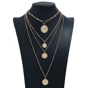 Длинное ожерелье женщины круглые ожерелья подвески для дам бижутерия бижутерия золотой цвет многослойные цепи ожерелья