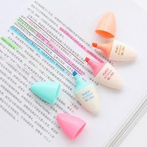 6pcs Sevimli Hap Marker Kalem Çekilebilir Fosforlu Seti Eğik Floresan Kalem Moda Suluboya Kalemler Kalemler Kırtasiye DBC BH1510 Boyama