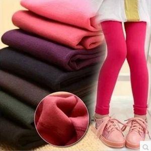 Девушка гетры осень и зима плюс бархат, чтобы сохранить тепло конфеты цвета Дети штаны 3-9 года Детские леггинсы для девочек