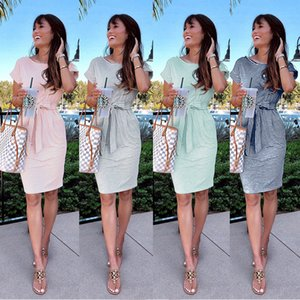 Womens Fashion New Short Sleeve Crew Neck Summer Striped Print Design Bandage Casual Party Midi Dress