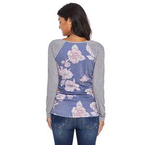 T-shirt de femme enceinte, manteau à manches longues, Splice, col rond, manches douces rayures bicolores, fleur près du corps 15
