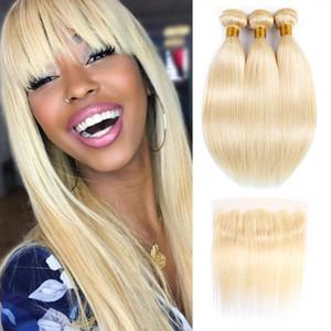 # 613 Bundles de cheveux blonds avec Frontale Indienne Péruvienne Cheveux Raides 3 Bundles avec Dentelle Frontal 10-28 pouces Remy Extensions de Cheveux Humains