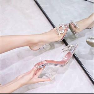 2019 grife mulheres de couro transparente cristal sapatos de salto alto bombear mulheres saltos altos, dedo do pé triângulo dourado pontas com casamento