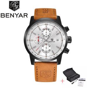 BENYAR Yeni Moda Chronograph Gerçek Deri Spor Erkek Saatler Top Marka Lüks Askeri Kuvars İzle Saat Relogio Masculino