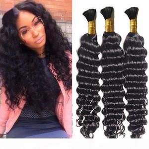 8A deep curly peruvian bulk hair for braiding 3pcs lot no attachment deep wave braiding peruvian human hair bulk