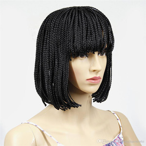 B Wholesale Cheap Sales Inventor Micro Braid Wigs For Black Women Synthetic Hair Wigs Kanelakon Natural Black Tissage Short Afro Wig Bo