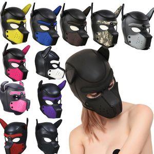 Parti Masques Pup Chiot Jeu Masque chien rembourré Latex capot Jeu de rôle Cosplay + tête oreilles Halloween Masque Sex Toy Pour Couples