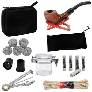 TOPPUFF Tobacco Bag Set Wood Tobacco Pipe + Metal Smoking Pipes Cleaning Tools + Carbon Pipe Filters + Glass Storage Jar