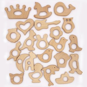 12 Stück Naturholzperle Antilope Pferd Sika Deer Zahnen Diy Pacifier Clip Holz Qrganic Baby-Beißring Glatte Beads