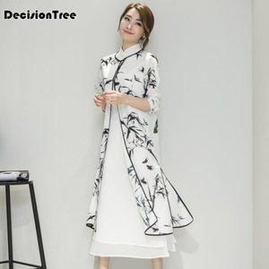 2019 summer women's satin cheongsam evening dress chinese oriental qipao dresses traditional chinese ink painting dress
