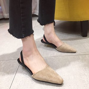 Pretty2019 Muller Square Shoe Single with Paotou Cavity Spelling Color One Pedal Sandals
