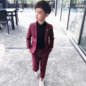 Çocuk Giyim Seti 3 5 7 9Y Boys BlazersMX190916 için 2 Adet Düğün Balo Kırmızı Siyah Düğün Suit