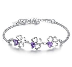 Fashion Lucky Clover Designer Bracelets with Purple Crystal Silver CZ Diamond Box Chain Link Charm Bracelet for Women Jewelry 17+3cm