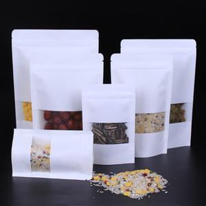Blanco del papel de Kraft Mylar autodenominado Doypack empaqueta con la ventana clara del negocio Alimentación Snack-paquete bolsa de almacenamiento Stand Up Packaging Ziplock BH2194 CY