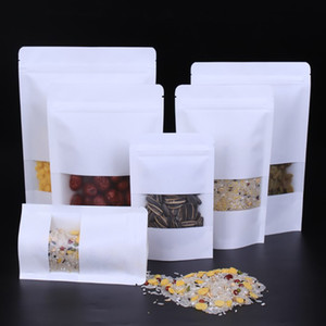 Blanc Kraft Papier Mylar Sacs de doypack auto-style avec fenêtre claire Food Tea Snack Snack Sac de stockage Stand Up Emballage Zipper BH2194 CY