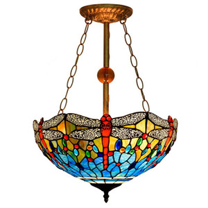 American pastoral creative Tiffany stained glass living room dining room bedroom chandelier European style blue dragonfly chandelier TF005