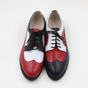 Retro Brogue de couro genuíno Mulher Oxford sapatos estilo vintage britânico recortes sapatas lisas Casual Oxford Shoes for Women 2019