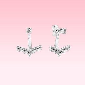 Beautiful CZ Diamond Pendentif Boucle d'oreille Femmes Summer Bijoux pour Pandora 925 Silver Princess Wish Boucle d'oreilles avec boîte d'origine