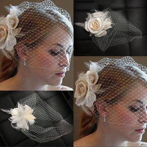Klassische Vogelkäfig Gesicht Brautschleier Mesh Shorts Brautschleier Net Gesicht bedeckt Schleier mit Kamm CPA840