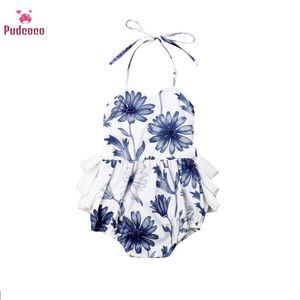 Pudcoco 2020 Summer Tiddle Girl Clothes Floral Clothes Strip Romper Bodysuit Uniforms Cotton Clothing 6-24m