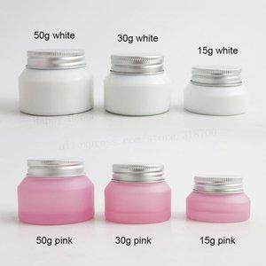 360 x 15G 30G 50G weiß rosa geneigte Glassahneglas mit Silberaluminiumdeckel PP weiß Dichtungs Cosmetic Verpackung Flasche Container