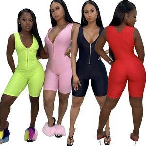 النساء ملابس الصيف بذلة عادية الخامس مثير السروال القصير الرقبة سستة BODYSUIT بلا أكمام من قطعة واحدة السراويل مصمم بلون وزرة 2723