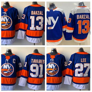 New York Islanders 91 TAVARES 13 BARZAL 27 LEE Hockey Trikots Shirts TOPS, Mode 2018 neue Mens Olympic Ice Hockey Praxis Ausbildung WEAR