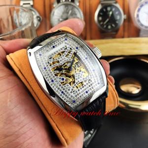 Versione alta UOMO COLLEZIONE 8880 B S6 SQT D MVT D Skeleton caso quadrante in acciaio Argento meccanico automatico Mens Watch in cuoio nero