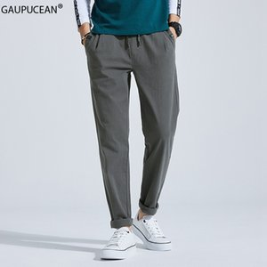 99% Cotton 1% Spandex Men Slim Trousers Spring Summer Autumn Solid Grey Blue Male Young Full Length Long Chino Man Pencil Pants