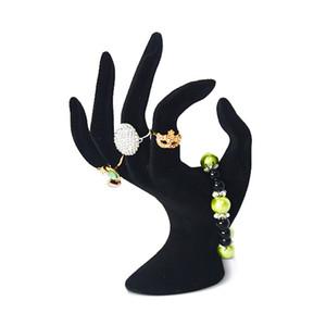Commercio all'ingrosso 100% nuovo display visualizzazione gioielli anello acrilico forma della mano OK dislay nero