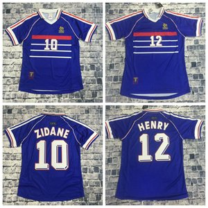 Top quality Jersey 1998 FRANCEs RETRO VINTAGE soccer jerseys ZIDANE HENRY MAILLOT DE FOOT Blue and white uniforms Football shirt