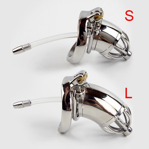 304 Stainless Steel Chastity Device With Urethral Sounds Catheter And Spike Ring S L Size Cock Cage Choose Male Chastity Belt T200510