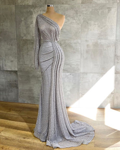2020 Arabic Aso Ebi Silver Sparkly Mermaid Evening Dresses One Shoulder Prom Dresses Sequined Formal Party Second Reception Gowns ZJ554