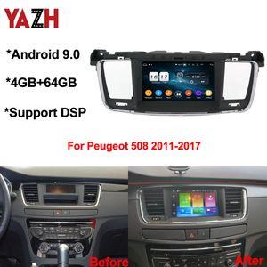 YAZH Android 9.0 GPS do carro chefe da Unidade Para Peugeot 508 2011-2017 4 + 64GB Auto Rádio DSP Bluetooth 5.0 Octa Núcleo CAR DVD Multimedia Player