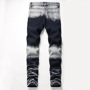 Agujeros de estiramiento larga para hombre de los pantalones vaqueros rectos regular mediados de cintura pantalones para hombre Moda Hombre Ropa Distrressed Azul Blanco